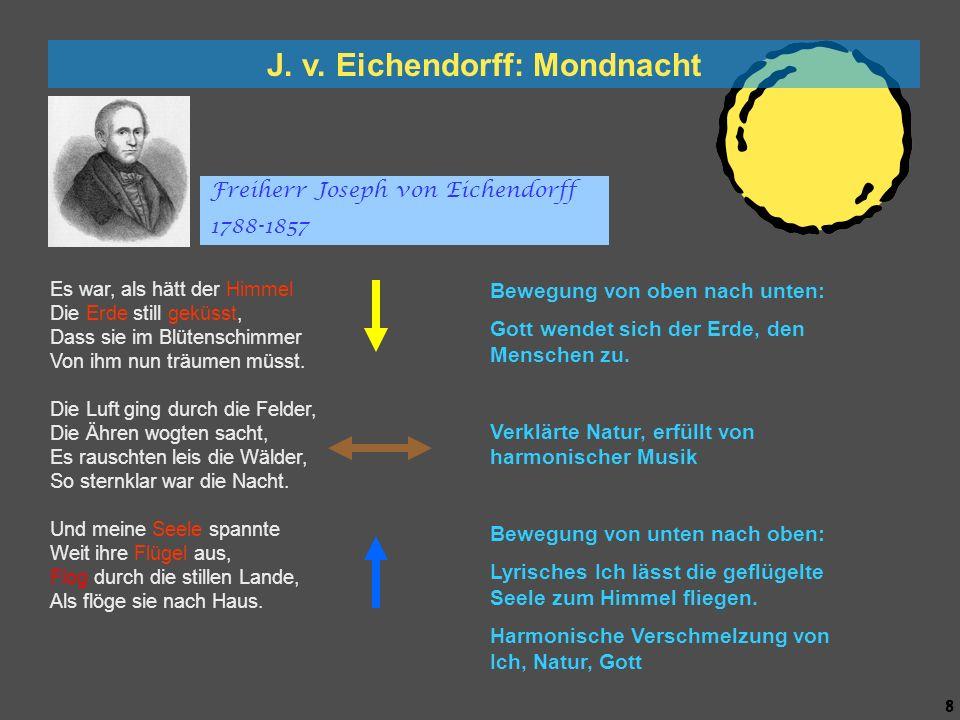 7 7 J. v. Eichendorff: Mondnacht Es war, als hätt der Himmel Die Erde still geküsst, Dass sie im Blütenschimmer Von ihm nun träumen müsst. Die Luft gi