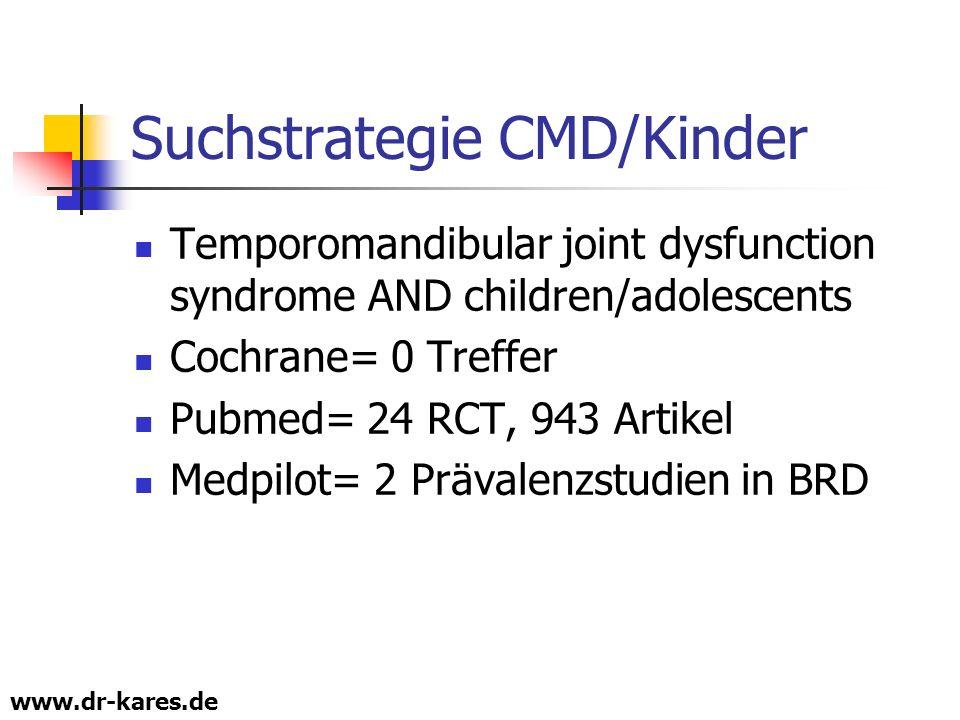 www.dr-kares.de Suchstrategie CMD/Kinder Temporomandibular joint dysfunction syndrome AND children/adolescents Cochrane= 0 Treffer Pubmed= 24 RCT, 943