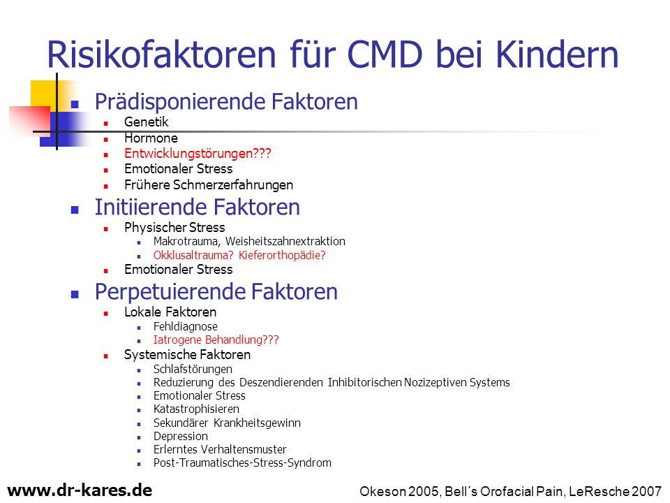 www.dr-kares.de Risikofaktoren für CMD bei Kindern Prädisponierende Faktoren Genetik Hormone Entwicklungstörungen??? Emotionaler Stress Frühere Schmer