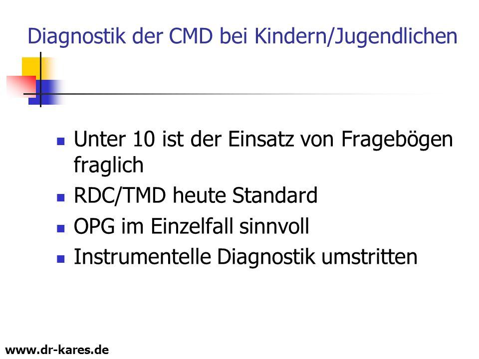 www.dr-kares.de Diagnostik der CMD bei Kindern/Jugendlichen Unter 10 ist der Einsatz von Fragebögen fraglich RDC/TMD heute Standard OPG im Einzelfall