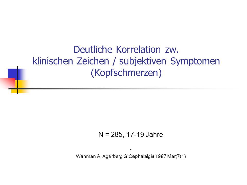 Deutliche Korrelation zw. klinischen Zeichen / subjektiven Symptomen (Kopfschmerzen) N = 285, 17-19 Jahre. Wanman A, Agerberg G.Cephalalgia 1987 Mar;7