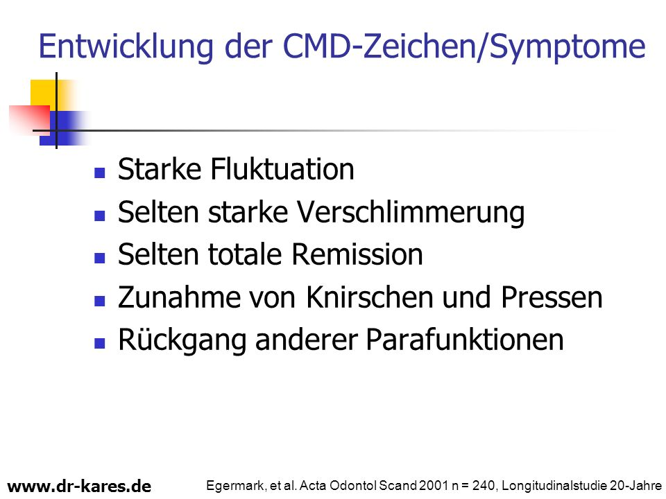 Entwicklung der CMD-Zeichen/Symptome Starke Fluktuation Selten starke Verschlimmerung Selten totale Remission Zunahme von Knirschen und Pressen Rückga