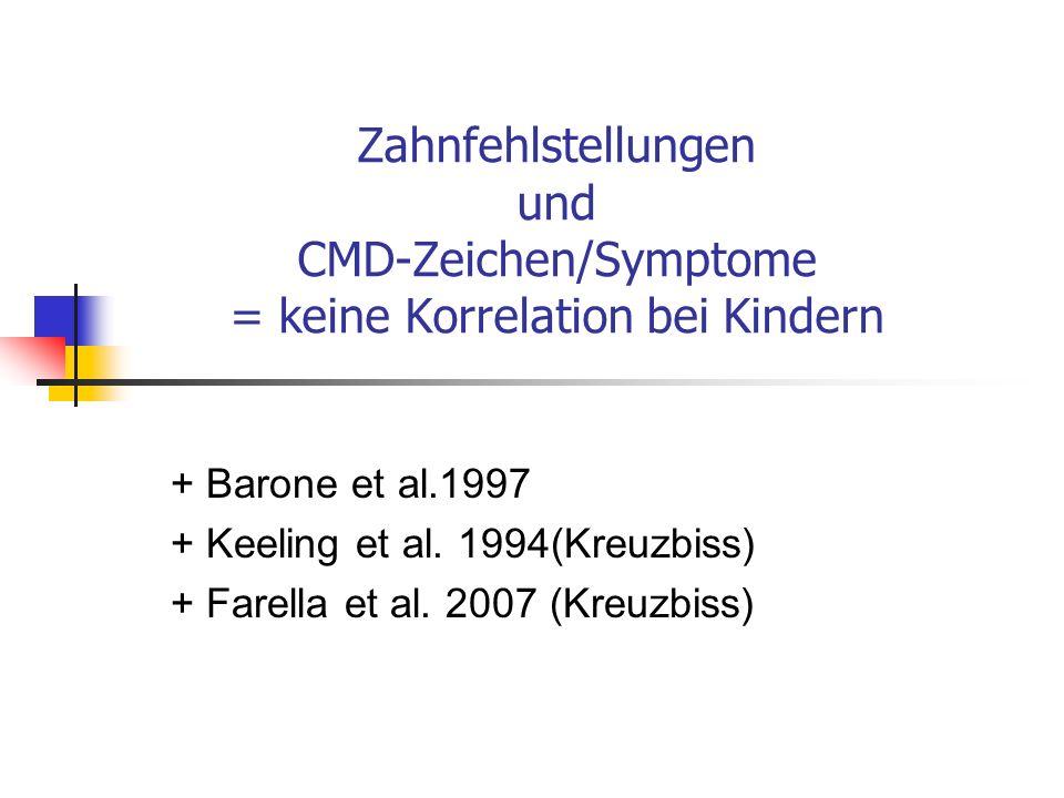 Zahnfehlstellungen und CMD-Zeichen/Symptome = keine Korrelation bei Kindern + Barone et al.1997 + Keeling et al. 1994(Kreuzbiss) + Farella et al. 2007