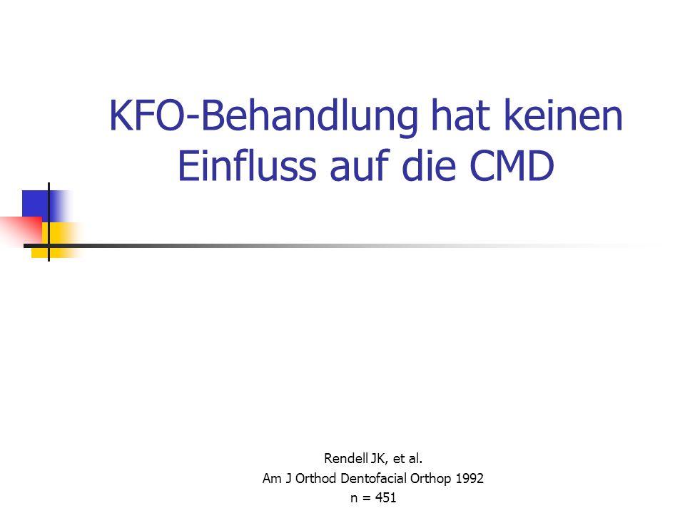 KFO-Behandlung hat keinen Einfluss auf die CMD Rendell JK, et al. Am J Orthod Dentofacial Orthop 1992 n = 451