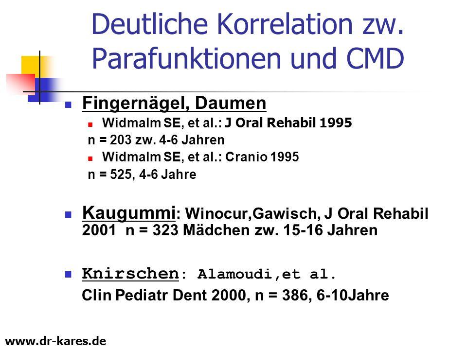 www.dr-kares.de Deutliche Korrelation zw. Parafunktionen und CMD Fingernägel, Daumen Widmalm SE, et al.: J Oral Rehabil 1995 n = 203 zw. 4-6 Jahren Wi