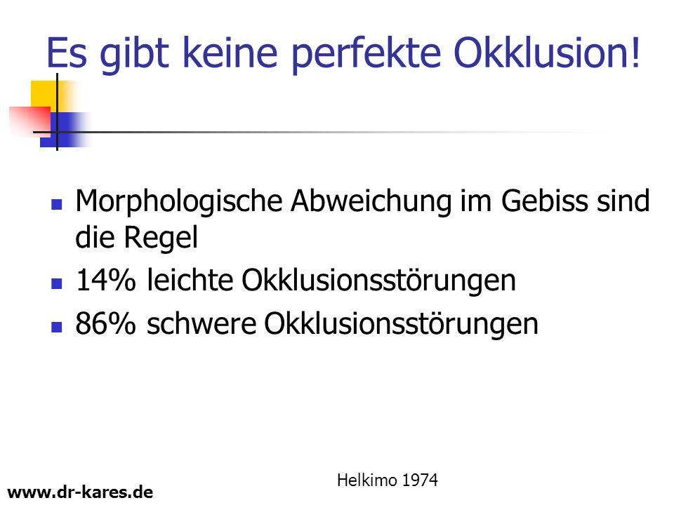 www.dr-kares.de Es gibt keine perfekte Okklusion! Morphologische Abweichung im Gebiss sind die Regel 14% leichte Okklusionsstörungen 86% schwere Okklu