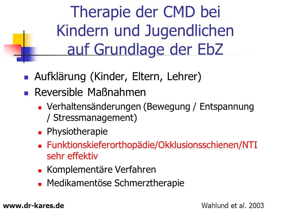 www.dr-kares.de Therapie der CMD bei Kindern und Jugendlichen auf Grundlage der EbZ Aufklärung (Kinder, Eltern, Lehrer) Reversible Maßnahmen Verhalten