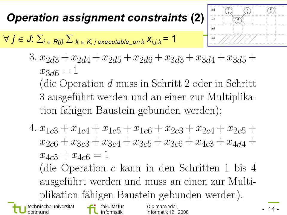 - 14 - technische universität dortmund fakultät für informatik p.marwedel, informatik 12, 2008 TU Dortmund Operation assignment constraints (2) j J: i R(j) k K, j executable_on k x i,j,k = 1