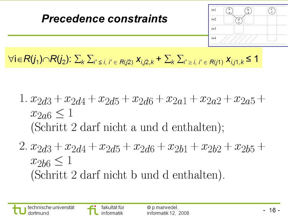 - 16 - technische universität dortmund fakultät für informatik p.marwedel, informatik 12, 2008 TU Dortmund Precedence constraints i R(j 1 ) R(j 2 ): k i i, i R(j2) x ij2,k + k i i, i R(j1) x ij1,k 1