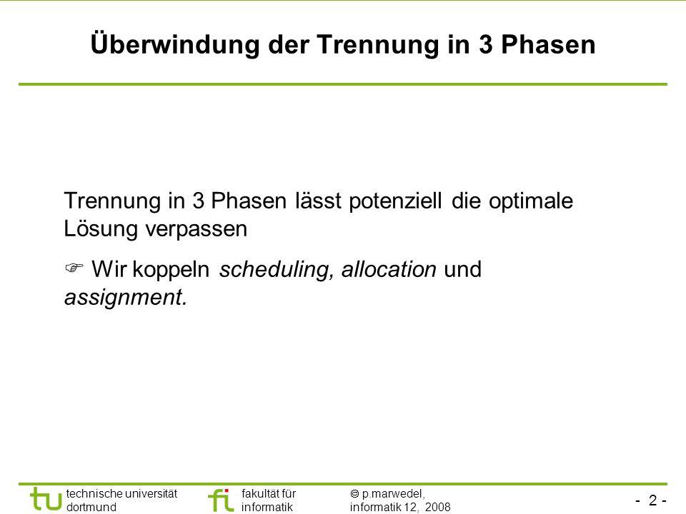 - 13 - technische universität dortmund fakultät für informatik p.marwedel, informatik 12, 2008 TU Dortmund Operation assignment constraints (1) j J: i R(j) k K, j executable_on k x i,j,k = 1 1.