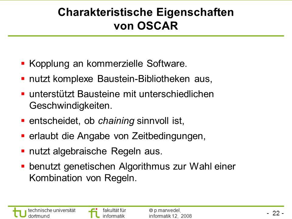 - 22 - technische universität dortmund fakultät für informatik p.marwedel, informatik 12, 2008 TU Dortmund Charakteristische Eigenschaften von OSCAR Kopplung an kommerzielle Software.