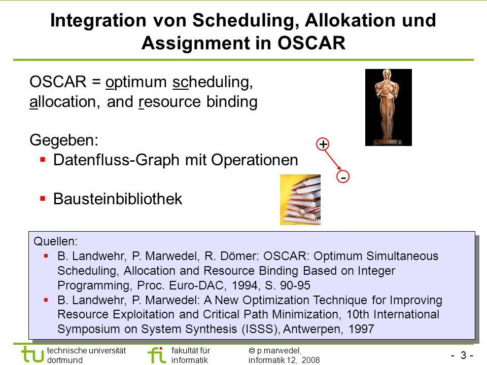 - 4 - technische universität dortmund fakultät für informatik p.marwedel, informatik 12, 2008 TU Dortmund Entscheidungsvariablen im IP-Modell Zentrale Entscheidungsvariable: Hilfsvariable: