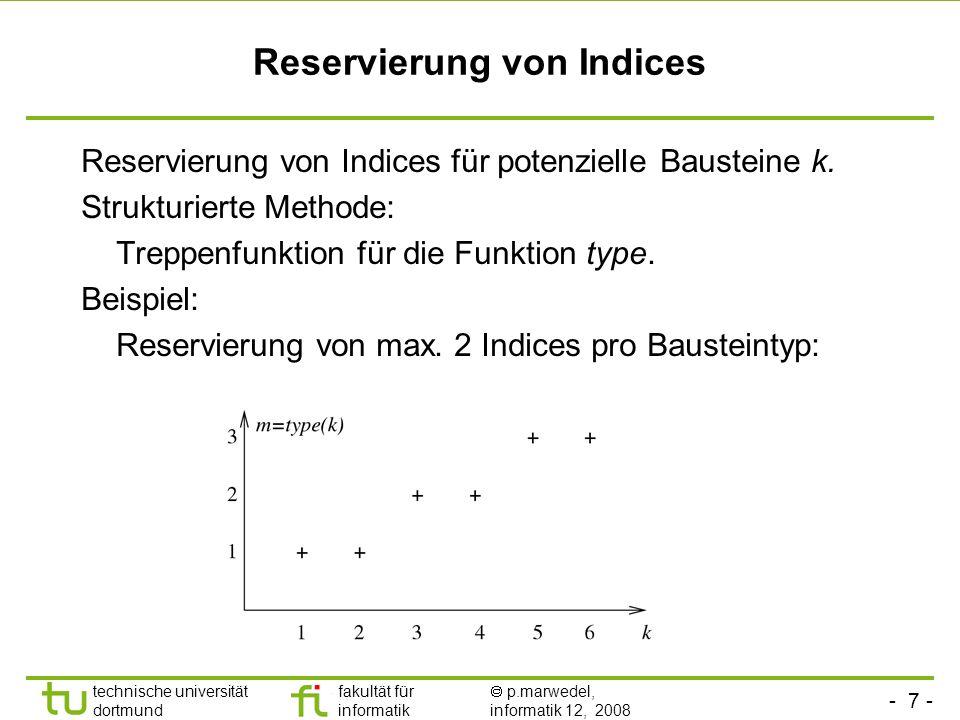 - 7 - technische universität dortmund fakultät für informatik p.marwedel, informatik 12, 2008 TU Dortmund Reservierung von Indices Reservierung von Indices für potenzielle Bausteine k.