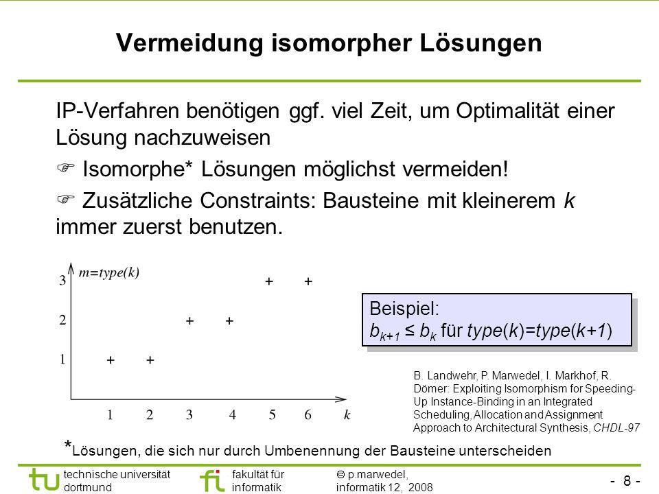 - 9 - technische universität dortmund fakultät für informatik p.marwedel, informatik 12, 2008 TU Dortmund Kostenfunktion Def.