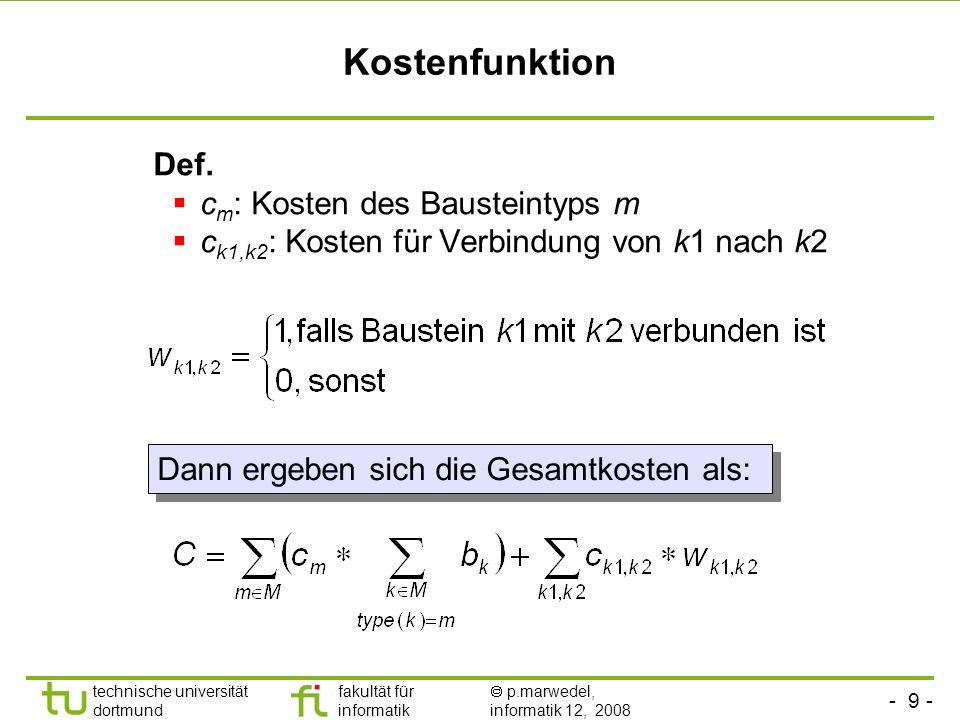 - 10 - technische universität dortmund fakultät für informatik p.marwedel, informatik 12, 2008 TU Dortmund Ein einfaches Beispiel Gegeben: s := (u+v) * (w+x); t:=y*z; ASAP/ALAP-Kontrollschritt-Bereiche: R(a) = [1,2]; R(b) = [1,2]; R(c) = [1,4]; R(d) = [2,3]; ASAP/ALAP-Kontrollschritt-Bereiche: R(a) = [1,2]; R(b) = [1,2]; R(c) = [1,4]; R(d) = [2,3]; Für die erste Zuweisung seien drei, für die zweite vier Kontrollschritte zulässig.