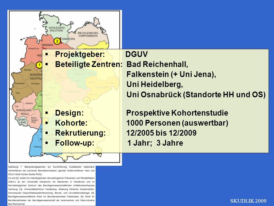Projektgeber: DGUV Beteiligte Zentren: Bad Reichenhall, Falkenstein (+ Uni Jena), Uni Heidelberg, Uni Osnabrück (Standorte HH und OS) Design: Prospekt