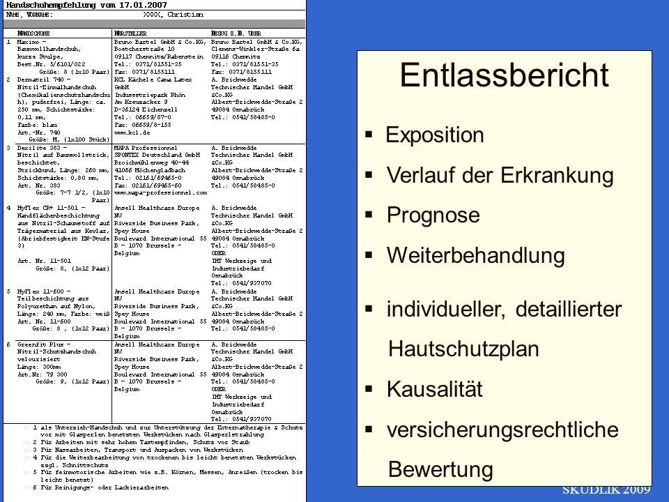 SKUDLIK 2009 Entlassbericht Exposition Verlauf der Erkrankung Prognose Weiterbehandlung individueller, detaillierter Hautschutzplan Kausalität versich