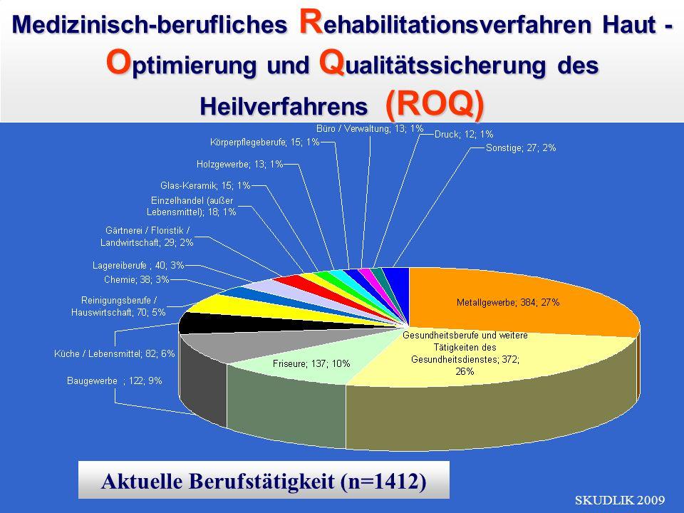 SKUDLIK 2009 Aktuelle Berufstätigkeit (n=1412) Medizinisch-berufliches R ehabilitationsverfahren Haut - O ptimierung und Q ualitätssicherung des Heilv
