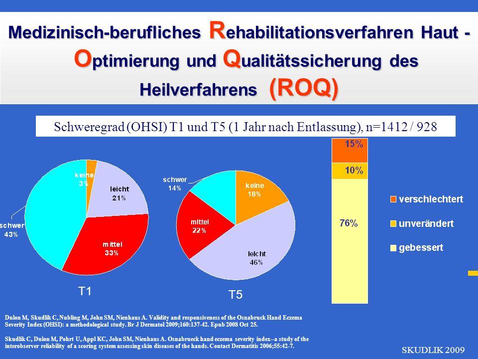 SKUDLIK 2009 Schweregrad (OHSI) T1 und T2 (Aufnahme und Entlassung), n=1412 Medizinisch-berufliches R ehabilitationsverfahren Haut - O ptimierung und