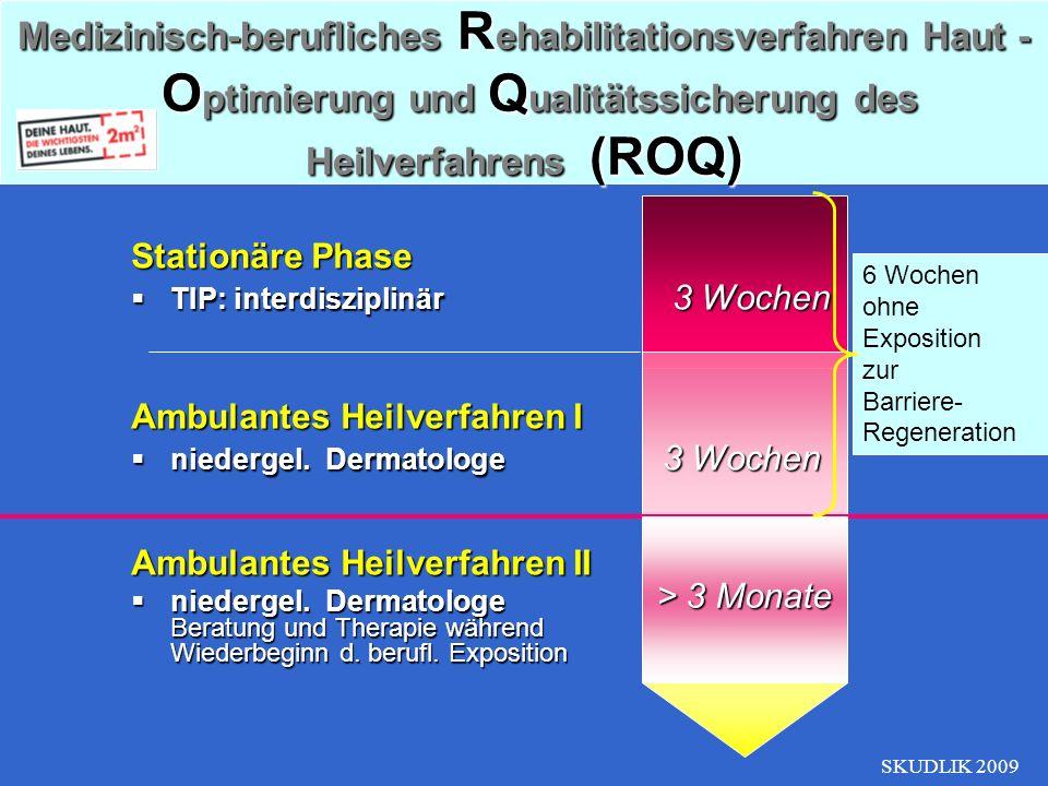 SKUDLIK 2009 Stationäre Phase TIP: interdisziplinär 3 Wochen TIP: interdisziplinär 3 Wochen Ambulantes Heilverfahren I niedergel. Dermatologe 3 Wochen