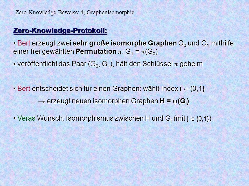 Zero-Knowledge-Protokoll: erzeugt zwei sehr große isomorphe Graphen G 0 und G 1 mithilfe einer frei gewählten Permutation : G 1 = (G 0 ) Bert erzeugt zwei sehr große isomorphe Graphen G 0 und G 1 mithilfe einer frei gewählten Permutation : G 1 = (G 0 ) veröffentlicht das Paar (G 0, G 1 ), hält den Schlüssel geheim veröffentlicht das Paar (G 0, G 1 ), hält den Schlüssel geheim entscheidet sich für einen Graphen: wählt Index i {0,1} Bert entscheidet sich für einen Graphen: wählt Index i {0,1} erzeugt neuen isomorphen Graphen H = (G i ) erzeugt neuen isomorphen Graphen H = (G i ) Wunsch: Isomorphismus zwischen H und G j (mit j {0,1} ) Veras Wunsch: Isomorphismus zwischen H und G j (mit j {0,1} ) Zero-Knowledge-Beweise: 4) Graphenisomorphie