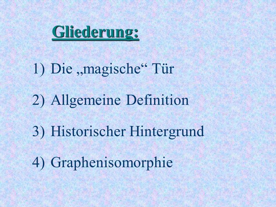 Gliederung: 1)Die magische Tür 2)Allgemeine Definition 3)Historischer Hintergrund 4)Graphenisomorphie
