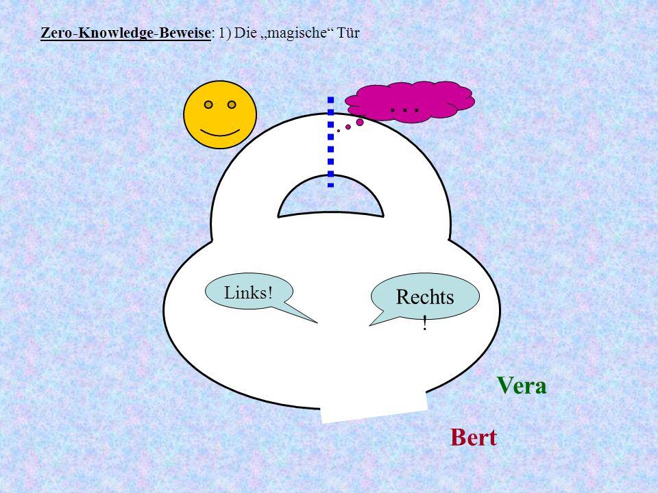 Zero-Knowledge-Beweise: 1) Die magische Tür Bert Vera Links! Rechts !...