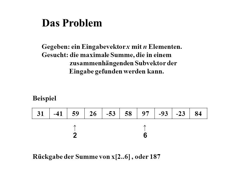Das Problem Gegeben: ein Eingabevektor x mit n Elementen.