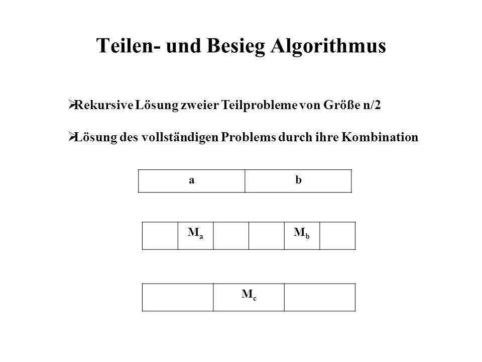 Teilen- und Besieg Algorithmus ab MaMa MbMb Rekursive Lösung zweier Teilprobleme von Größe n/2 Lösung des vollständigen Problems durch ihre Kombination McMc