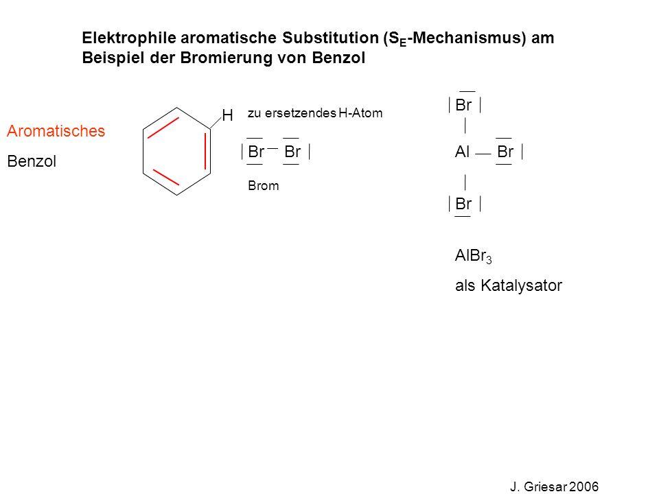 Elektrophile aromatische Substitution (S E -Mechanismus) am Beispiel der Bromierung von Benzol J. Griesar 2006 Br Al Aromatisches Benzol H zu ersetzen
