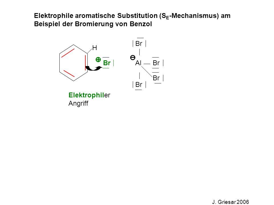 Elektrophile aromatische Substitution (S E -Mechanismus) am Beispiel der Bromierung von Benzol J. Griesar 2006 Br Al Br Elektrophiler Angriff H