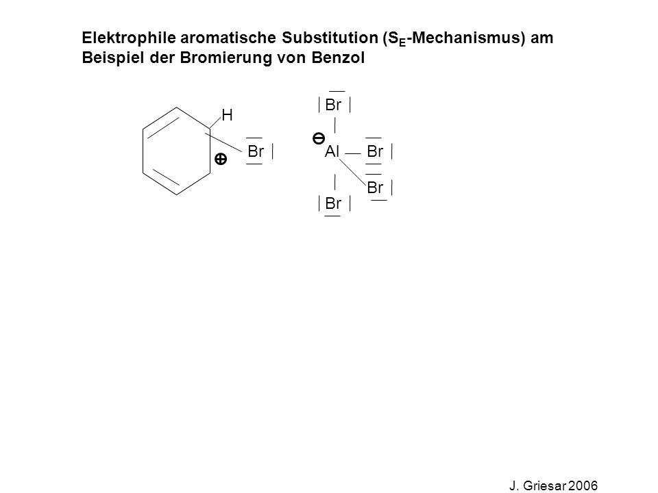 Elektrophile aromatische Substitution (S E -Mechanismus) am Beispiel der Bromierung von Benzol J. Griesar 2006 Br Al Br H
