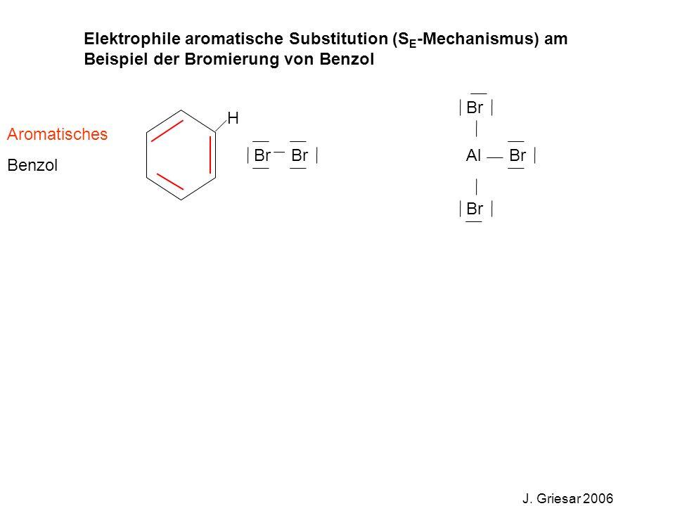 Elektrophile aromatische Substitution (S E -Mechanismus) am Beispiel der Bromierung von Benzol J. Griesar 2006 Br Al Aromatisches Benzol H