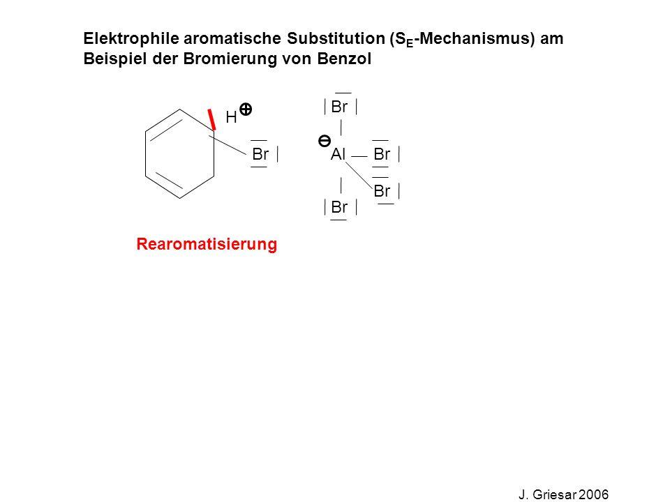 Elektrophile aromatische Substitution (S E -Mechanismus) am Beispiel der Bromierung von Benzol J. Griesar 2006 Br Al Br H Rearomatisierung