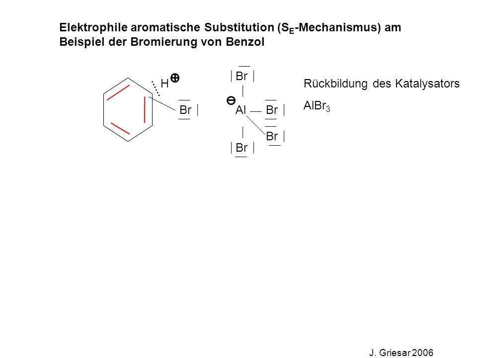 Elektrophile aromatische Substitution (S E -Mechanismus) am Beispiel der Bromierung von Benzol J. Griesar 2006 Br Al Br HRückbildung des Katalysators