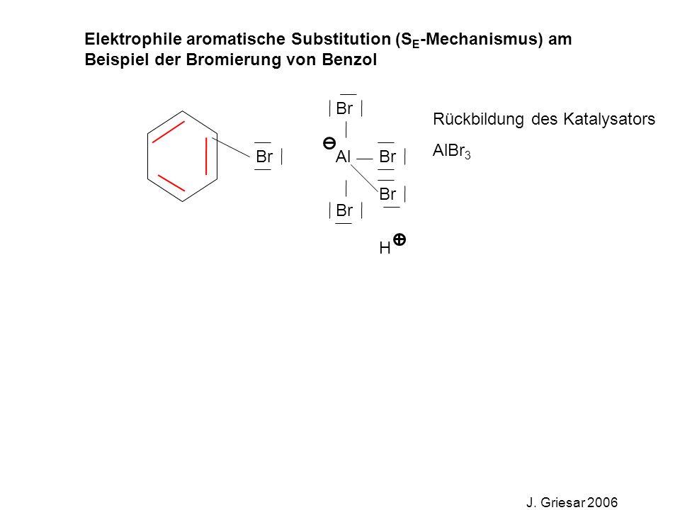 Elektrophile aromatische Substitution (S E -Mechanismus) am Beispiel der Bromierung von Benzol J. Griesar 2006 Br Al Br H Rückbildung des Katalysators