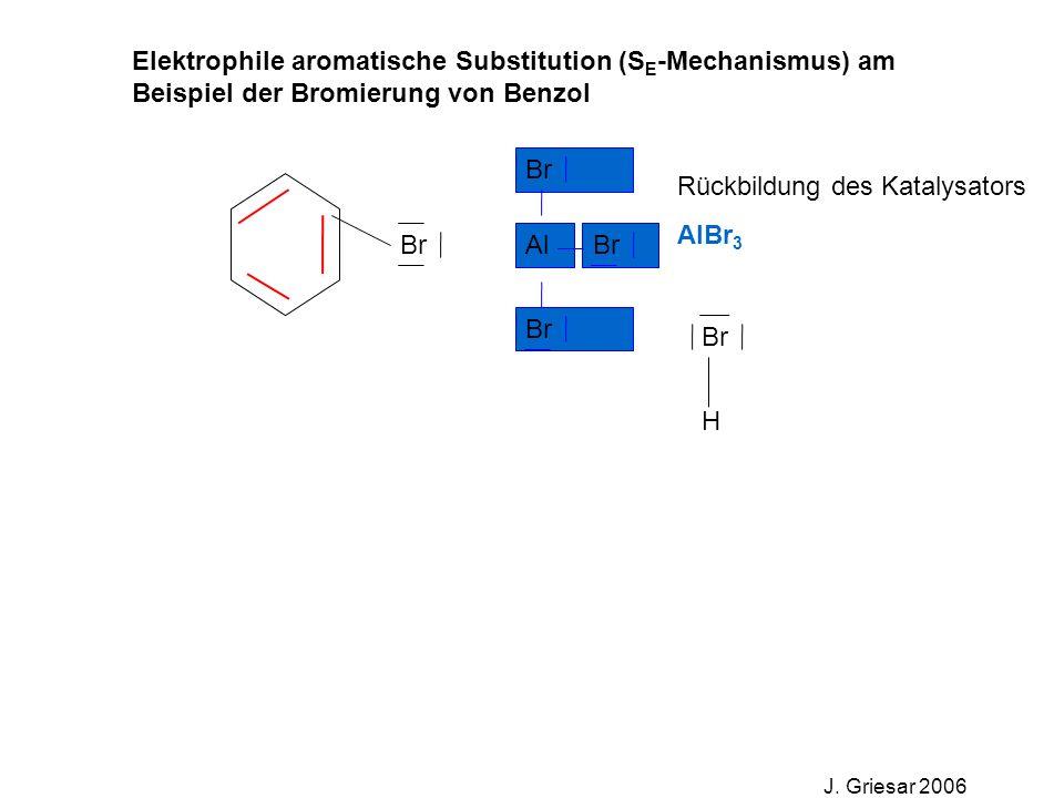 Elektrophile aromatische Substitution (S E -Mechanismus) am Beispiel der Bromierung von Benzol J. Griesar 2006 Br Al Rückbildung des Katalysators AlBr