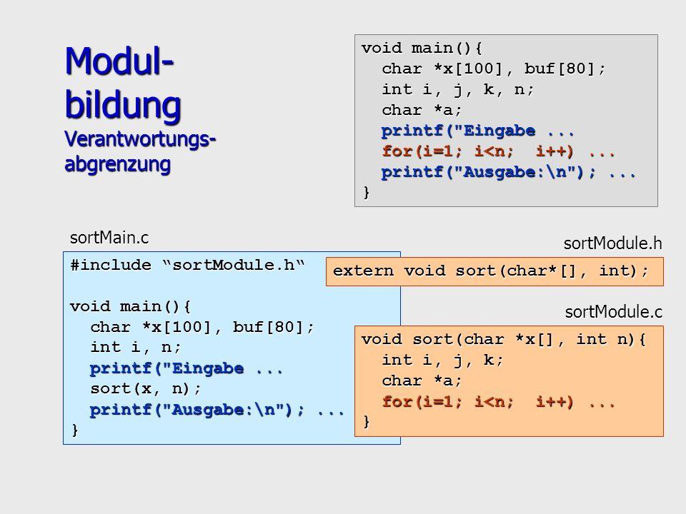 #include sortModule.h void main(){ char *x[100], buf[80]; char *x[100], buf[80]; int i, n; int i, n; printf( Eingabe...