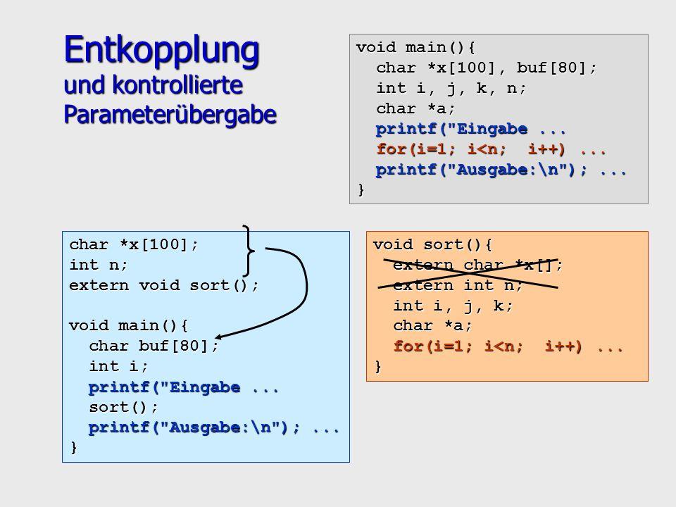 Entkopplung und kontrollierte Parameterübergabe void main(){ char *x[100], buf[80]; char *x[100], buf[80]; int i, j, k, n; int i, j, k, n; char *a; char *a; printf( Eingabe...