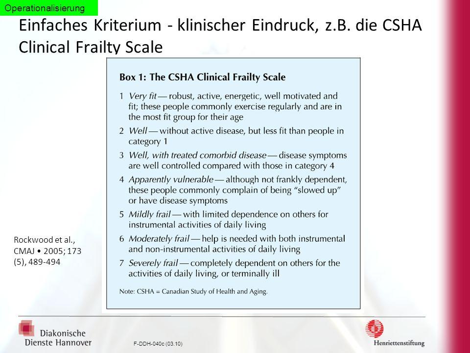 F-DDH-040c (03.10) Einfaches Kriterium - klinischer Eindruck, z.B. die CSHA Clinical Frailty Scale Rockwood et al., CMAJ 2005; 173 (5), 489-494 Operat