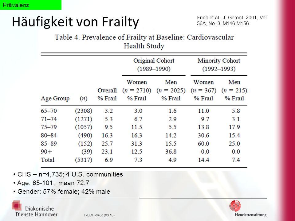 F-DDH-040c (03.10) Häufigkeit von Frailty Fried et al., J. Geront. 2001, Vol. 56A, No. 3, M146-M156 CHS – n=4,735; 4 U.S. communities Age: 65-101; mea