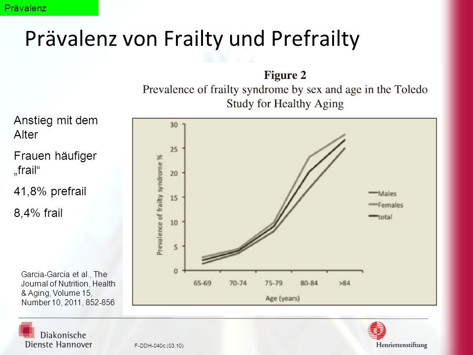 F-DDH-040c (03.10) Prävalenz von Frailty und Prefrailty Garcia-Garcia et al., The Journal of Nutrition, Health & Aging, Volume 15, Number 10, 2011, 85