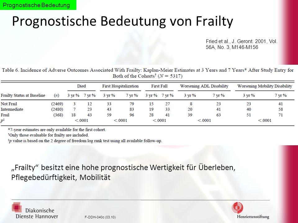F-DDH-040c (03.10) Prognostische Bedeutung von Frailty Fried et al., J. Geront. 2001, Vol. 56A, No. 3, M146-M156 Frailty besitzt eine hohe prognostisc