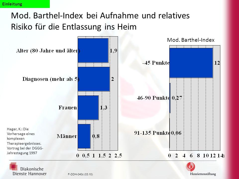 F-DDH-040c (03.10) 3 Mod. Barthel-Index bei Aufnahme und relatives Risiko für die Entlassung ins Heim Hager, K.: Die Vorhersage eines komplexen Therap