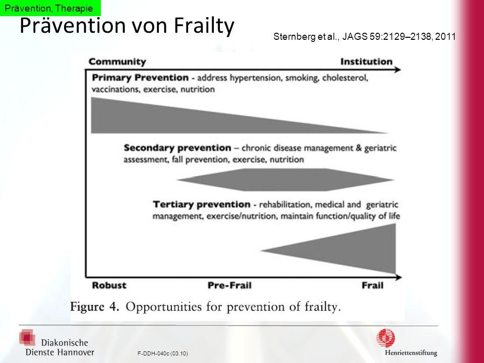 F-DDH-040c (03.10) Prävention von Frailty Sternberg et al., JAGS 59:2129–2138, 2011 Prävention, Therapie