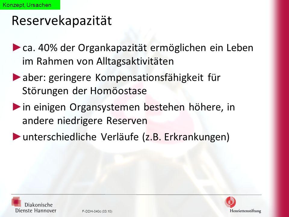 F-DDH-040c (03.10) Reservekapazität ca. 40% der Organkapazität ermöglichen ein Leben im Rahmen von Alltagsaktivitäten aber: geringere Kompensationsfäh