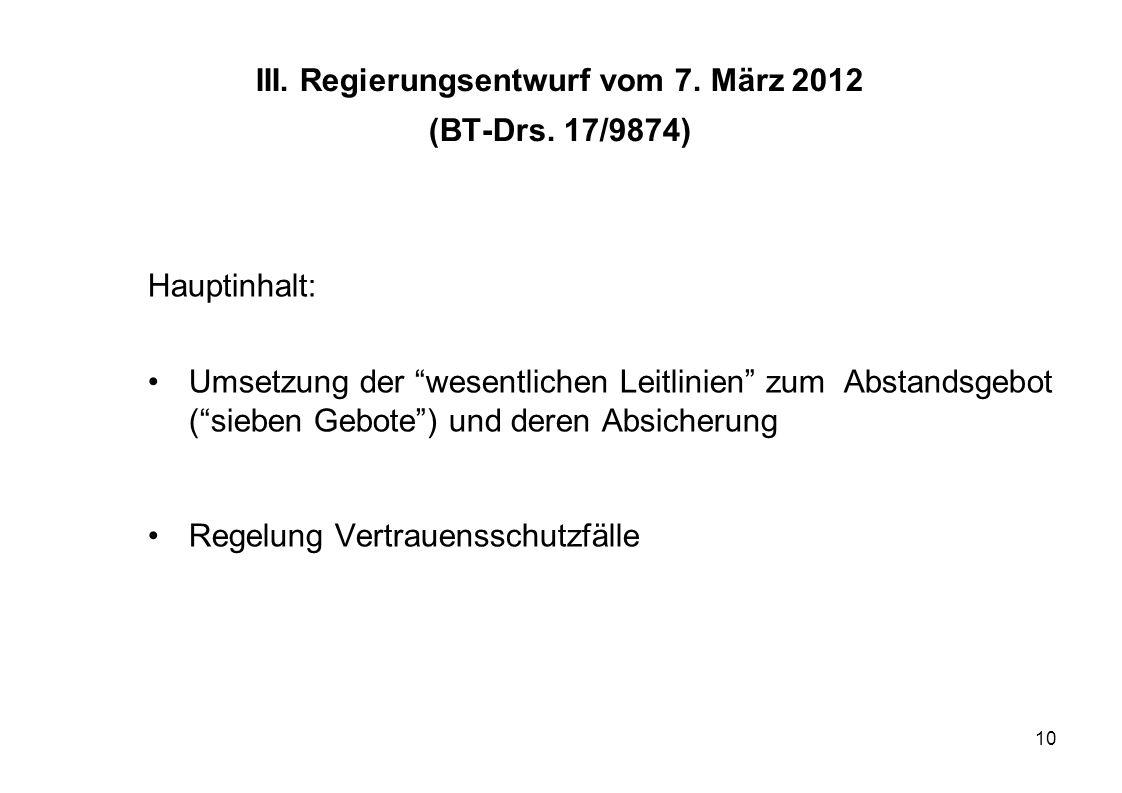 10 III. Regierungsentwurf vom 7. März 2012 (BT-Drs. 17/9874) Hauptinhalt: Umsetzung der wesentlichen Leitlinien zum Abstandsgebot (sieben Gebote) und