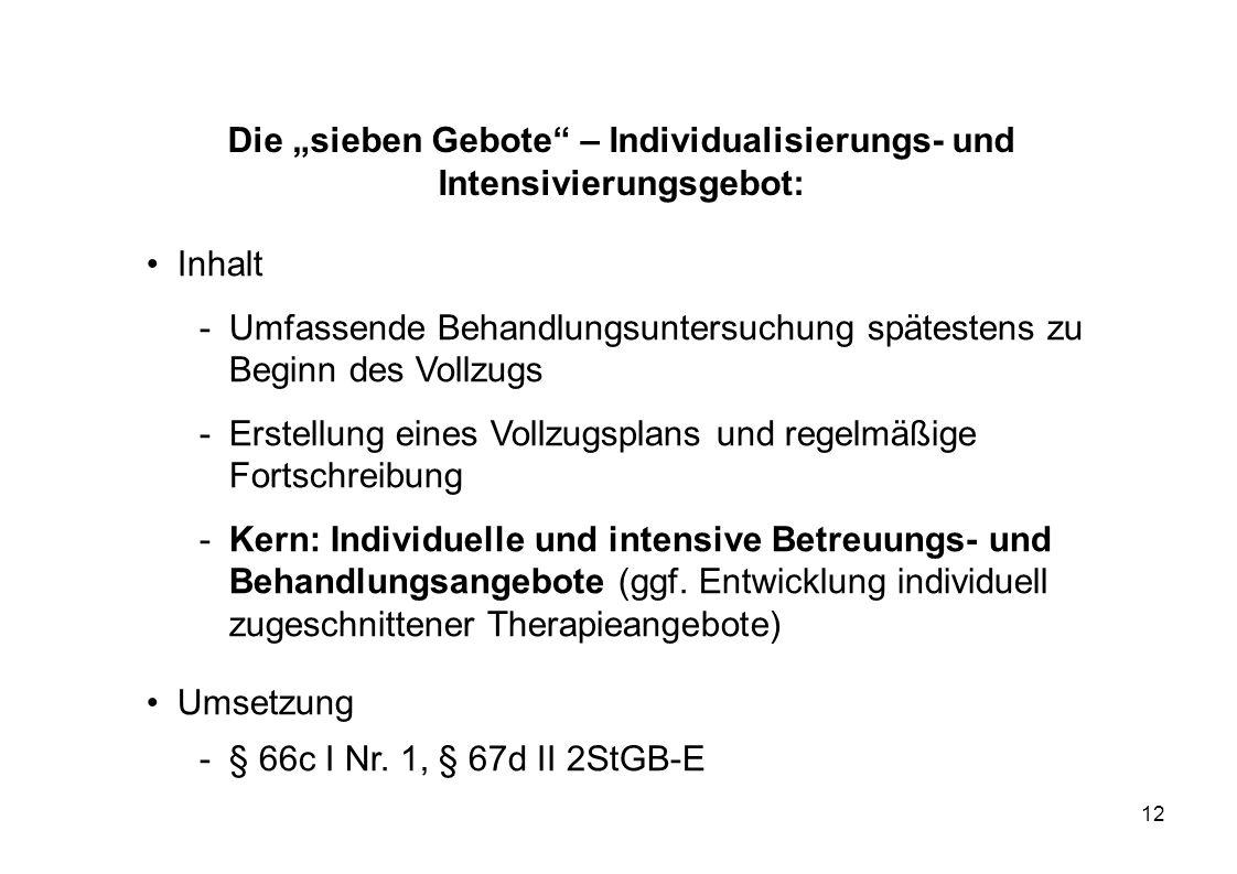 12 Die sieben Gebote – Individualisierungs- und Intensivierungsgebot: Inhalt -Umfassende Behandlungsuntersuchung spätestens zu Beginn des Vollzugs -Er