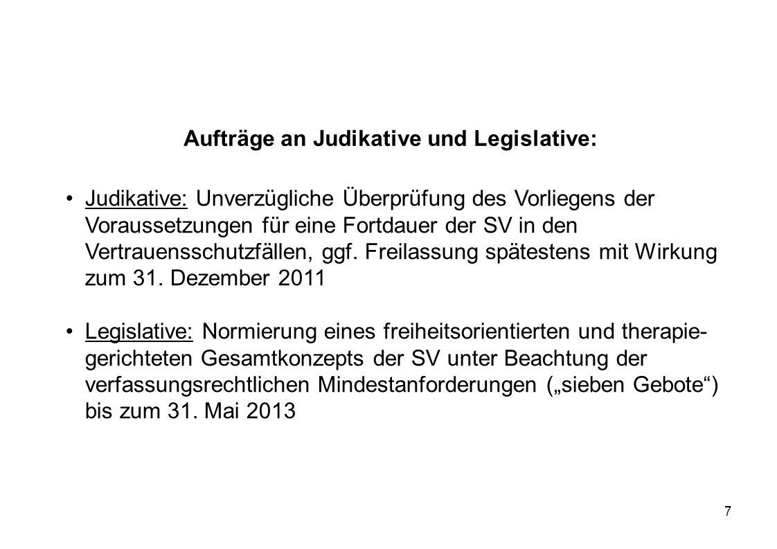 7 Aufträge an Judikative und Legislative: Judikative: Unverzügliche Überprüfung des Vorliegens der Voraussetzungen für eine Fortdauer der SV in den Ve