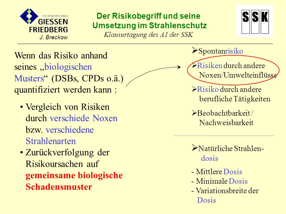 Der Risikobegriff und seine Umsetzung im Strahlenschutz Klausurtagung des A1 der SSK J. Breckow Spontanrisiko Risiken durch andere Noxen/Umwelteinflüs